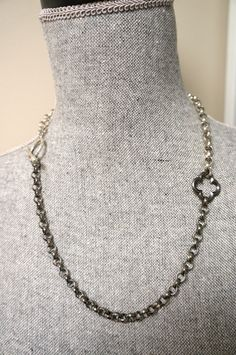 Two Tone Quatrefoil NECKLACE Silver and Gunmetal by Links & Locks, $22.00