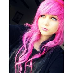 Pink Scene Hair ❤ liked on Polyvore I want those bangs! And the color but I don't think anyone will let me:(