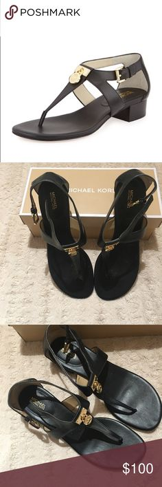 MK Hamilton Sandals Michael Kors Hamilton black leather thong sandals. These are stunning and classic! A must have MK piece! Slight heel, MK lock charms, no scratches or signs of wear. Worn for an hour, like new! Michael Kors Shoes Sandals