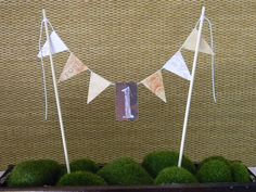 First Anniversary Bunting Wedding Cake Topper by ApplesModernArt