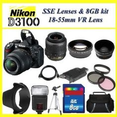 The Nikon D3100 SLR Digital Camera with Nikon 18-55m f3.5-5.6G VR Lens HUGE PACKAGE including 8GB SDHC Memory Card + Card Reader + Wide Angle Lens + 2x Telephoto Lens + Filter Kit + Digital Flash + Case + Tripod + Lens Hood + Nikon School DVD and MORE!