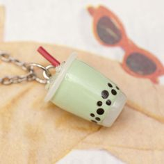 Necklace  Japanese Green Milk Tea Boba Drink Handmade by roscata