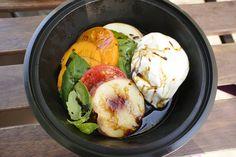 Burrata+ripe peaches+heirloom tomato+fresh basil+balsamic reduction via Cube via Broome Street General, Los Angeles, CA