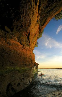 You don't have to stay on land to discover the Fundy tides. There are several operators in St. Martins, New Brunswick, Canada, who rent kayaks and lead tours along the coast so you can get up close and personal with the cliffs even at high tide.