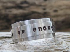 I am enough spinner ring personalized custom sterling silver fidget ring spinning ring worry ring anxiety ring