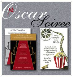 Oscar party invites from twig and thistle--if I ever make this party a really formal thing