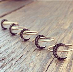 Diamond Moon Ring Crescent Moon Ring Moon by charlieandmarcelle, $125.00