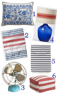 red, white & blue from: 1. High Street Market 2. Toast 3. High Street Market  4. Terrain 5. Brook Farm General Store 6. West Elm