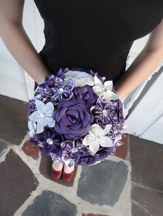 Hey, I found this really awesome Etsy listing at https://www.etsy.com/listing/152611482/purple-flower-wedding-bouquet-large-rose