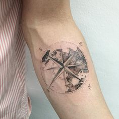 earth + compass #earthtattoo #compasstattoo #blacktattoo #blackwork #tattoo…