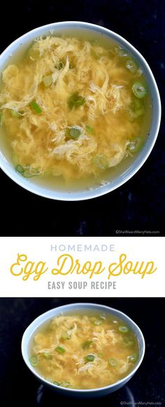 Egg Drop Soup Recipe is quick and easy to make in about 10 minutes. So delicious! | shewearsmanyhats.com