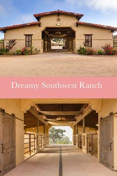 Ranch in Santa Ynez Valley Dream horse barn with beautiful architecture and lots of open space. A great barn idea!Dream horse barn with beautiful architecture and lots of open space. A great barn idea! Dream Stables, Dream Barn, Horse Stables, Southwestern Ranch, Southwest Ranches, Horse Barn Designs, Horse Barn Plans, Horse Property, Horse Ranch