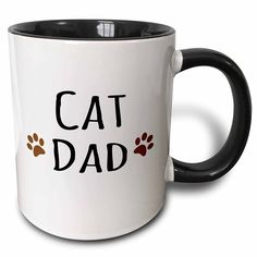 3dRose 3dRose Cat dad text in black with two paw prints - for male pet owners and kitty lovers - Two Tone Black Mug, 11oz (mug_153843_4), , Black/White