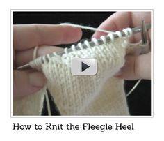 The Fleegle Heel - Sock Patterns and Videos Knitting Help, Knitting Videos, Knitting Socks, Knitting Stitches, Knitting Projects, Hand Knitting, Knitting Patterns, Knit Mittens, Crochet Slipper Boots