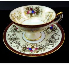 Have A #Cuppa.  Vintage #MidCentury Pedestal Tea Cup & Saucer Set with Fruit Cornucopia and Gold Made in Japan The Elegant #Tea