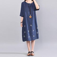 Summer Women Casual Printing Literature Short Sleeve Blue Dress