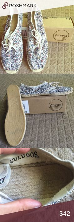 Soludos Flats from Anthropologie Round cap toe, super sweet allover floral print, Woven textile footbed. Sold with original box. Perfect shape! Anthropologie Shoes Flats & Loafers