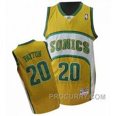 7bb99e282 Gary Payton Seattle SuperSonics  20 Swingman Throwback Yellow Jersey