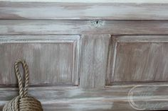 "Close up of washed oak.  ""Nantucket Chest"" finished in washes of French Linen and Pure White Chalk Paint."