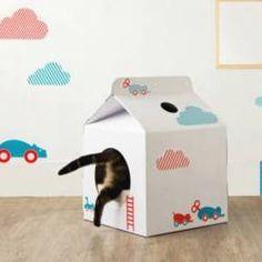 Milk box pet house. #cats #CatCondo