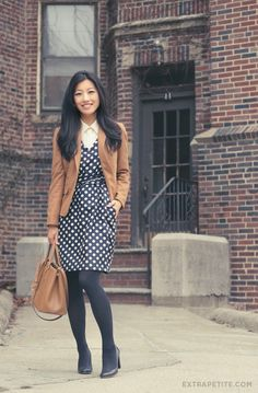 Camel and polka dots, and the versatility of navy tights // Professional Style @ Levo (via Extra Petite Blog)
