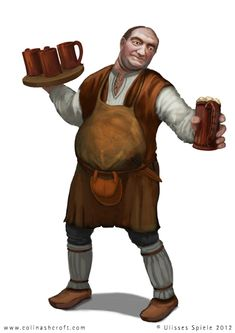 This is a Bar Keeper RPG character design that I was commissioned to create. It was commissioned for an RPG guide for the role-playing game 'Das Schwarz. Fantasy Male, Fantasy Rpg, Medieval Fantasy, High Fantasy, Rpg Pathfinder, Pathfinder Character, D D Characters, Fantasy Characters, Fantasy Inspiration