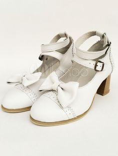 8b46313bc7da Lolita Chunky Heels White Double Strap Sweet Lolita Shoes With Bow  Heels