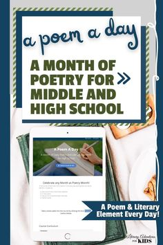 A Month of Daily Poetry and Literary Elements for Middle and High School! In this course, A Poem A Day, we will spend a 10-15 minutes a day studying poetry and literary elements. Included are: *Daily study of one or more literary elements *21 Daily poems *Daily Journal to record the poem and notes *Teacher's guide Homeschool High School, Homeschooling, Online Book Club, Poetry Lessons, Literary Elements, Teacher's Guide, Teaching Poetry, Poetry Month, Poem A Day