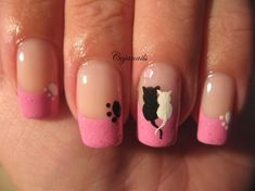 Cats in love - Nail Art Gallery by NAILS Magazine finger-nail-designs Fancy Nails, Love Nails, Pretty Nails, Fancy Nail Art, Pink Nails, Cat Nail Art, Cat Nails, Galeries D'art D'ongles, Nail Art Designs