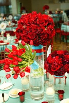 Each vase gets a different batch of red spring flowers, this fullness would be quite pricey so we'd modify it for budget $60.00 at max fullness but can bring it down from there