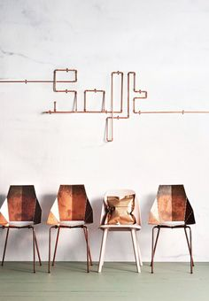 blu dot real good copper chairs / inside out magazine