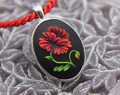 GORGEOUS POPPY oval pendant, floral motif in silver tone metal bezel, polymer clay filigree technique.Vintage looking gift, wearable art