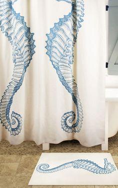 Blue Seahorse Bath Mat