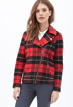 $49, Forever 21 Plaid Moto Jacket. Sold by Forever 21. Click for more info: https://lookastic.com/women/shop_items/113774/redirect