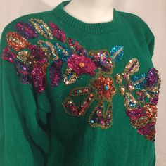 Vintage Green Floral Flower Sequin Oversize 80s Eighties Sweater Pullover Large L Purple Teal Hot Pink Gold Western Collection by CarolinaThriftChick on Etsy