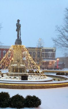 Snowy downtown Bentonville, Arkansas
