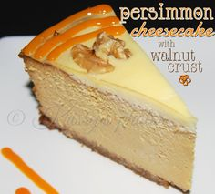 Persimmon Cheesecake with Walnut Crust