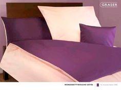 Graser satijn glad,overtrek, uni, twee kleuren, twee zijden, paars, off white, 5482, wendebettwasche,glatt, cover