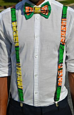 Ankara Suspenders and Bowtie African Shirts For Men, African Clothing For Men, African Accessories, Diy African Jewelry, African Inspired Fashion, African Print Fashion, African Attire, African Wear, Fashion Line