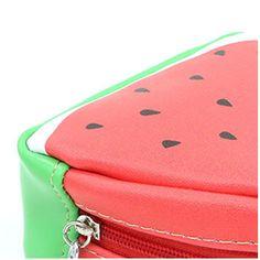 Women Fashion Wallet Fruit Prints Coin Purse Summer Portable Creative Mini PU Coin Bag(red)