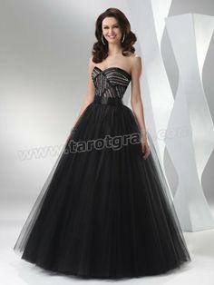 Black A-Line Strapless Sweetheart Bandage Floor Length Sequin Orangaza Prom Dress