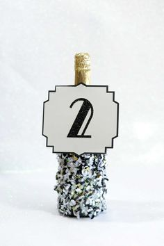 new years crafts confetti dipped champagne bottle