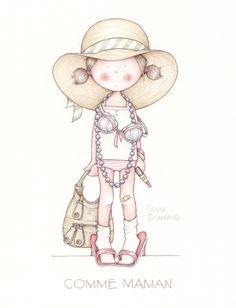 by Celine Bonnaud Illustration Mignonne, Cute Illustration, Watercolor Illustration, Cute Images, Cute Pictures, Art Fantaisiste, Art Mignon, Digi Stamps, Whimsical Art