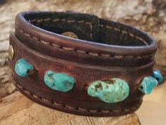 Ladies Genuine Leather Cuff Real Turquoise Stones by LeatherVision