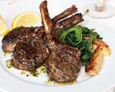 \The simple rub we use on lamb chops imparts the fragrance of the Greek kitchen — that appetizing scent of garlic and dried oregano. Lamb Chop Recipes, Meat Recipes, Dinner Recipes, Cooking Recipes, Healthy Recipes, Entree Recipes, Grilling Recipes, Sauce Recipes, Aries