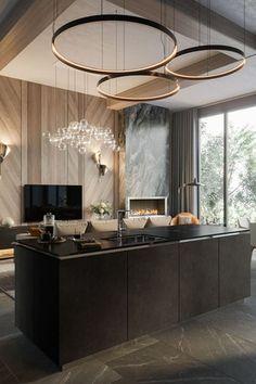 Luxury Kitchen Design, Kitchen Room Design, Luxury Interior Design, Modern House Design, Interior Design Living Room, Residential Interior Design, Kitchen Decor, Interior Decorating, Apartment Interior