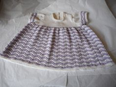 Hand Made Beautiful Toddlers Dress - White & Lilac Cashmere Silk Merino with Short Sleeves  Size 22 ins - Age 1 - 2 Years   Made in Scotland