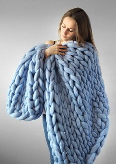 Soft Warm Hand Chunky Knit Blanket Thick Yarn Wool Bulky Bed Spread Throw is fashion & kawaii, see other throw blanket on NewChic Mobile. Chunky Knit Throw, Chunky Blanket, Chunky Yarn, Chunky Knits, Thick Knitted Blanket, Big Knits, Finger Knitting, Knitting Yarn, Knitting Patterns