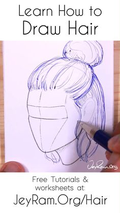 Ponytail Drawing, Girl Hair Drawing, Anime Hair Drawing, Braid Drawing, Gesture Drawing, Art Drawings Sketches Simple, Pencil Art Drawings, Hair Drawings, Drawing Faces