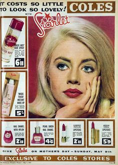 Used back in the day - still using it! Great makeup. Starlet makeup advertisement, 1965 from Coles Variety Stores